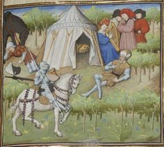 Relaxing in camp? A lady plays the harp. A glimpse into the tent, with camp bed (?) From Guiron le Courtois, c. 1420 (Paris). BNF Français 356, fol. 214r. Bibliothèque nationale, Paris.