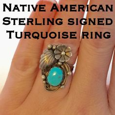 Vintage Native American Signed Turquoise Ring This is a beautiful Vintage Sterling Silver Native American Signed Turquoise with Flower & Leaf Detail Ring. Marked Sterling ANGELA. Size 4.25. This ring is in great vintage condition and has not been cleaned due to age. Everything about the detail of this ring is so pretty! If you love Native American jewelry or even collect it this ring is for you!  Thanks for looking! I ship out same day! Buy w/ confidence w/ 150+ 5 ⭐️feedback! Please make…