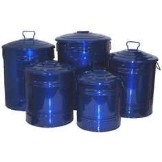 Houston International Trading GB Enameled Storage Container, Glazed Blue, As Shown Blue Kitchen Accessories, Trash Disposal, Trash And Recycling Bin, Sweet Home Collection, Houston, Canister Sets, Canisters, Trash Bag, Enamel Paint