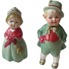 German Bisque Nodder Doll Pair Couple Vintage 1930s Irish Green Leprechaun Was $80 - Now $72  https://www.rubylane.com/item/676693-D84/German-Bisque-Nodder-Doll-Pair-Couple