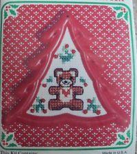 christmas bear ornament cross stitch kit unique tree shaped frame glass beads