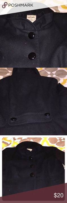 Black ruffle collar button down coat Lovely coat with fun ruffle collar!  Never worn but been in the closet- very warm and super chic and classic Jackets & Coats Pea Coats