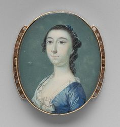 Mrs. Jacob Motte, ca. 1755  Jeremiah Theus (American, 1716–1774)  Watercolor on ivory    1 3/8 x 1 1/4 in. (3.5 x 3.2 cm)