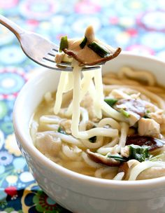 15 Minute Chicken Mushroom Udon Noodle Soup - The Kitchen Magpie