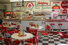 American Diner at its Best. See Twisters soda fountain/ diner on Route 66 in Williams, Arizona. (print by Patricia Montgomery) - inspiration 1950 Diner, Vintage Diner, Retro Diner, 50s Diner Kitchen, Retro Cafe, Vintage Coke, Vintage Style, Cafeteria Retro, Bar Retro