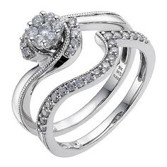 Perfect Fit 9ct White Gold 0.40 Carat Diamond Bridal Set - Product number 8967644 Such a classic, vintage design. I love the cluster of diamonds on the engagement ring echoed by the diamonds on the wedding band.