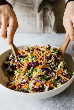 Cabbage and Carrot Slaw with Almond Butter Vinaigrette #vegan #glutenfree #sponsored