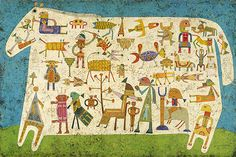 "Victor Brauner (Romanian, 1903-1966) | Prelude to a Civilization, 1954 | encaustic and pen and ink on masonite, 51""x79.75"" /sm"