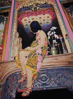 Naomi Okubo, 鏡の前の, アクリル・油彩・綿布・パネル, 455×606, 2011