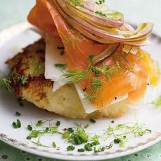 Taste Mag | Crispy potato cakes draped with salmon and red onion slivers @ http://taste.co.za/recipes/crispy-potato-cakes-draped-with-royale-highlands-salmon-and-red-onion-slivers/