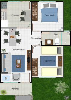 Pequeña casa moderna de una planta, dos dormitorios y 53 metros cuadrados - deplanos.com