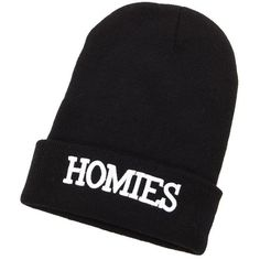 """""""Homies"""" Fold-Over Beanie (11 NZD) ❤ liked on Polyvore featuring accessories, hats, black, chunky knit beanie, charlotte russe hats, thick knit hat, thick knit beanie and beanie cap"""
