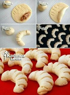 Elmali Pastry cookie recipe, how? – Female recipes – Delicious, practical and more exquisite recipe site - Chef HELEN LOG Apple Pie Cookie Recipe, Apple Pie Cookies, Cookies Et Biscuits, Cookie Recipes, Bread Recipes, Bolo Pinata, Bread Shaping, Bread Art, Food Garnishes