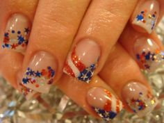 Patriotic Nail Polish of July. If only I could have long nails for my job. Like the flag nail. Not so much the confetti. Holiday Nail Designs, Gel Nail Designs, Cute Nail Designs, Holiday Nails, Love Nails, Pretty Nails, Funky Nails, Patriotic Nails, Patriotic Party