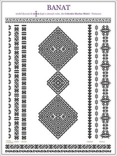ie de Banat Folk Embroidery, Embroidery Stitches, Embroidery Patterns, Knitting Patterns, Cross Stitch Geometric, Cross Stitch Patterns, Ethnic Patterns, Beading Patterns, Wedding Album Design