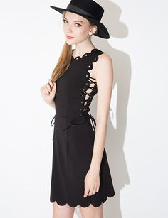 69c7bd9cd09 Scalloped Eyelet lace up dress  89.00 Black Lace Up Dress