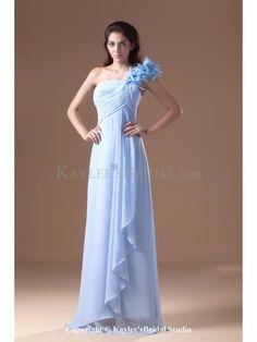 Chiffon One-shoulder Floor Length Column Hand-made Flowers Prom Dress