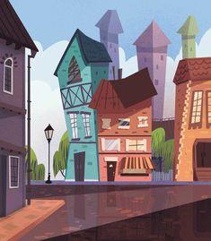 Cartoon Background, Animation Background, Art Background, Building Illustration, Book Illustration, Watercolor Illustration, Environment Concept Art, Environment Design, Cartoon Building