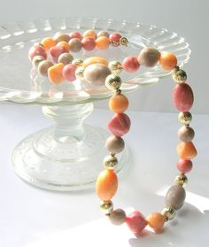 Vintage Necklaces  Vintage Lucite Peach Pink and by SwankyJewels