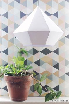 40 Best and Unique Paper Crafts for Home Decoration. These handmade paper crafts are easy DIY ideas to make at home. Outdoor Light Fixtures, Outdoor Lighting, Lighting Ideas, Handmade Decorations, Light Decorations, Geometric Lamp, Online Craft Store, Diamond Pendant, Making Ideas