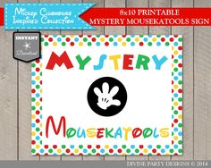 Mickey Mouse Clubhouse Mystery Mousekatools Sign. Birthday party DIY printables. Use promo code PINTEREST10 to save 10% off your purchase.