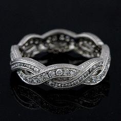 Diamond Eternity Infinity Pave Channel Wedding Band 18K White Gold. $2,599.00, via Etsy.