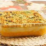 Two-toned Mashed Potato Crisp - a layer of sweet potatoes; a layer of mashed yukon gold potatoes topped with a mixture of bread crumbs.  A great look on the Easter buffet table!