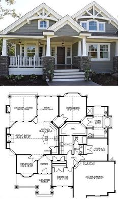 This's The Best Home Plans With 3 Bedrooms, 2 Baths, 1 Stories, 2 Garages Cottage House Plans, Craftsman House Plans, Country House Plans, New House Plans, Dream House Plans, Small House Plans, House Floor Plans, Craftsman Interior, Porches