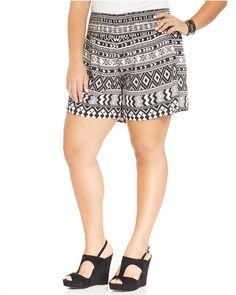 American Rag Plus Size Smocked Geo-Print Shorts Plus Size Shorts, American Rag, Printed Shorts, Smocking, Short Dresses, Mini Skirts, Geo, Style