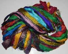Recycled Sari Silk Ribbon Yarn multi 1 color 65 by JuliaLCraft, $9.99