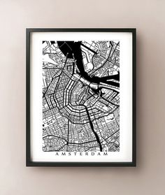 Amsterdam City Map Netherlands Poster Black and by CartoCreative, $20.00