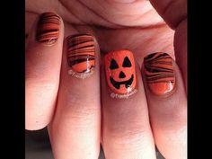 10 Halloween 2013 Nail Art Tutorials:  Pumpkin Nail Art