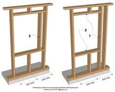 Рис. 9.21 Проёмы в фронтонной деревянной каркасной стене - (проёмы типа A по норвежской классификации) Выбор конструкции оконных и дверных проёмов