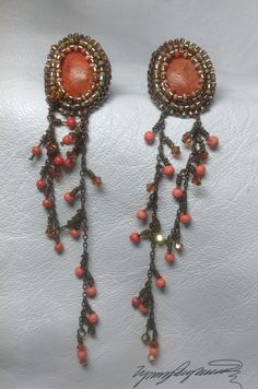 Coral Earrings created by Lynn Parpard by LynnParpard on Etsy