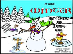 """Make math more fun with this winter resource just full of snowmen, skating ducks, and a wild snowmobile driver! You get four different math centers. Each center revolves around a different thread in the 2nd grade curriculum. Once you have finished the centers, reinforce student learning even more with a fun game called """"Snowball Fight""""."""