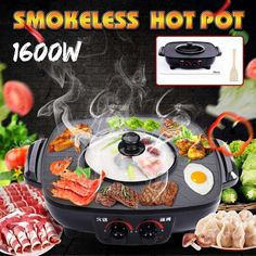 Quality 2 Electric Multi Cooker Barbecue Pan Hot Pot Indoor Ourdoor Electric Smokeless BBQ Griddles Dish Roast plate with free worldwide shipping on AliExpress Mobile Barbecue, Multicooker, Hot Pot, Griddles, Roast, Plates, Dishes, Cooking, Licence Plates