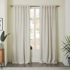 Lightweight curtain for bedroom: Belgian Linen Curtain - Natural