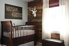 I absolutely LOVE this for a boy's nursery! So cute for a little cowboy! :) Maybe a cowboy hat and rope instead of a deer head, but hubs might have a different opinion :)