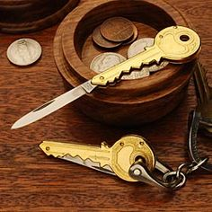 Key Shaped Pocket Knife - Barely larger than an ordinary key, this handy accessory adds minimal bulk to your key ring. German made and will easily slip on your key chain. Everyone loves this irresistible little knife. Gifts For Him, Great Gifts, Best Pocket Knife, Pocket Knives, Cool Knives, Vintage Keys, Survival Knife, Survival Gear, Folding Knives