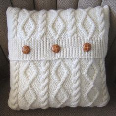 Diamonds and Cables Hand Knit Pillows  pillows