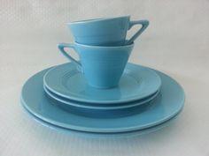 Vintage Homer Laughlin Harlequin Cups & Saucers
