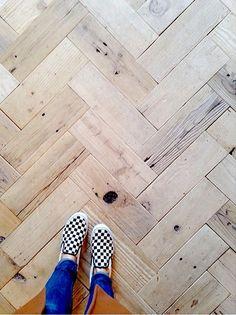 Dandy is part of Herringbone wood floor - wood Pattern Color Herringbone Floors Dandy Pallet Floors, Pine Floors, Barn Wood Floors, White Wash Wood Floors, Reclaimed Wood Floors, Wide Plank Flooring, Diy Flooring, Laminate Flooring, Cheap Flooring Ideas