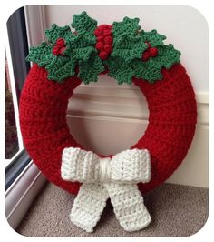 Shop Craft Supplies Online The devil does not always appear as a terrible ruler of the underworld, b Crochet Christmas Wreath, Crochet Wreath, Crochet Christmas Decorations, Crochet Decoration, Christmas Crochet Patterns, Xmas Wreaths, Holiday Crochet, Christmas Knitting, Holly Wreath