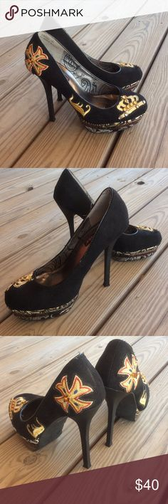 Embellished dollhouse heels Not for the faint of heart! Gorgeous embellished black shoes. Six inch heels! Dollhouse Shoes Heels