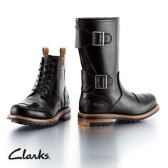 Biker Boots aus der Kollaboration mit Norton. Links: Clarks Norton Rise, 220,00 Euro: http://www.clarks.de/p/26103102. Rechts: Clarks Norton Zip, 290,00 Euro: http://www.clarks.de/p/26103105