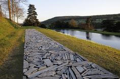 "Richard Long. ""Cornwall Slate Line"" at Chatsworth House Derbyshire. England"
