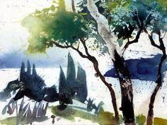Oberhalb Levanto, Ligurien, 2006 Watercolor Sketch, Watercolor Landscape, Abstract Landscape, Landscape Paintings, Watercolor Paintings, Watercolours, Urban Sketching, Sketches, Christian