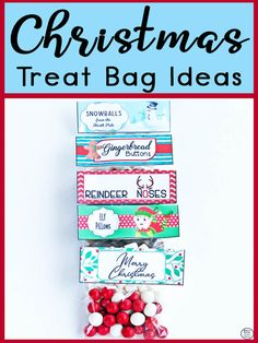 These five Christmas Treat Bag Ideas are simple and easy to make, yet great fun ideas that are perfect to give out during the festive season. Christmas Treat Bags, Christmas Labels, Christmas Printables, Marshmellow Treats, Reindeer Noses, White Marshmallows, Educational Crafts, Holiday Festival, Mint Chocolate