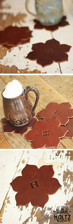 The Magnolia Flower Fine Leather Coaster Set is handmade right here in our shop with the finest of Full Grain American leathers. We hand pick our leather hides from a local tannery ~ for a rustic look and feel. This is a gift that will be used and loved for a lifetime!