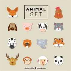 Animais vector set plana